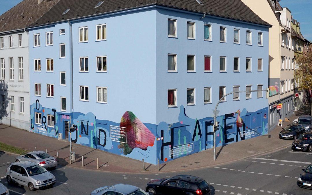 Künstlerische Gestaltung am Tor zum Dortmunder Hafenviertel